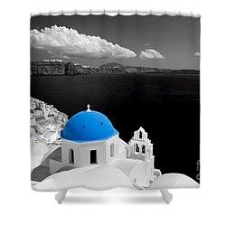 Oia Town On Santorini Island Greece Blue Dome Church Black And White. Shower Curtain