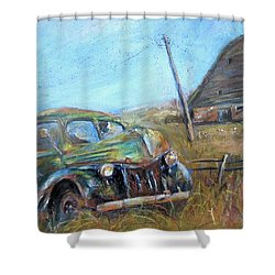 Shower Curtain featuring the painting Old Car  by Jieming Wang