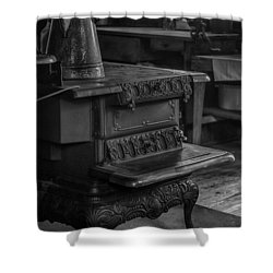 Old Farm Kitchen And Wood Burning Stove Shower Curtain by Lynn Palmer