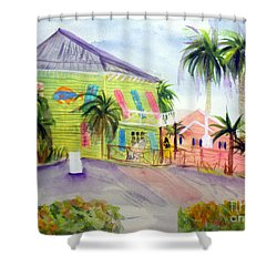 Old Key Lime House Shower Curtain by Donna Walsh