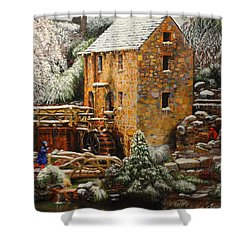 Old Mill In Winter Shower Curtain