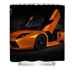 Orange Murcielago Shower Curtain by Douglas Pittman