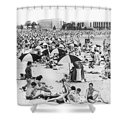 Orchard Beach In The Bronx Shower Curtain by Underwood Archives