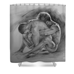 Original Drawing Sketch Charcoal Chalk  Gay Man Portrait Of Cowboy Art Pencil On Paper By Hongtao  Shower Curtain