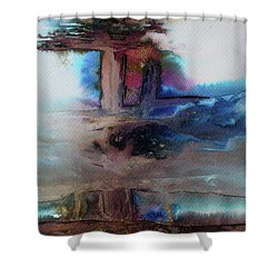Shower Curtain featuring the painting Out Of The Mist by Mary Sullivan