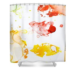 Paint Splatters And Paint Brush Shower Curtain by Chris Knorr