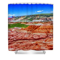 Painted Desert National Park Panorama Shower Curtain by Bob and Nadine Johnston