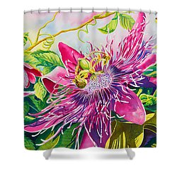 Passionflower Party Shower Curtain by Janis Grau