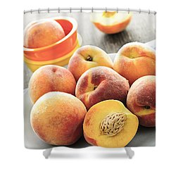 Peaches On Plate Shower Curtain by Elena Elisseeva