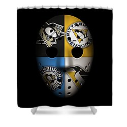 Penguins Goalie Mask Shower Curtain by Joe Hamilton