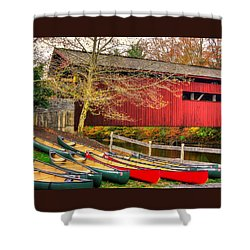 Pennsylvania Country Roads - Bowmansdale - Stoner Covered Bridge Over Yellow Breeches Creek - Autumn Shower Curtain by Michael Mazaika