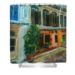 Shower Curtain featuring the painting Peranakan House by Belinda Low