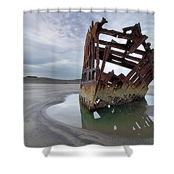 Peter Iredale At Dawn Shower Curtain by David Gn