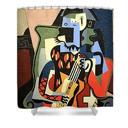 Picasso's Harlequin Musician Shower Curtain by Cora Wandel