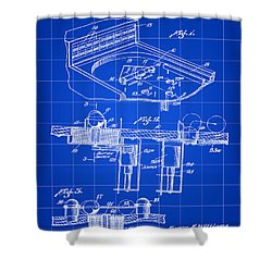 Pinball Machine Patent 1939 - Blue Shower Curtain by Stephen Younts