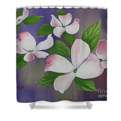 Shower Curtain featuring the painting Pink Dogwoods by Jimmie Bartlett