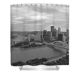 Pittsburgh - View Of The Three Rivers Shower Curtain by Frank Romeo