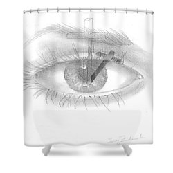 Shower Curtain featuring the drawing Plank In Eye by Terry Frederick