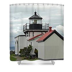 Point No Point Lighthouse Shower Curtain by E Faithe Lester