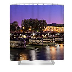 Shower Curtain featuring the photograph Pont Des Arts At Night / Paris by Barry O Carroll