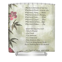 Pope Francis St. Francis Simple Prayer Butterfly Garden Shower Curtain by Desiderata Gallery