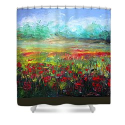 Poppy Fields Shower Curtain by Vesna Martinjak