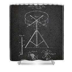 Portable Drum Patent Drawing From 1903 - Dark Shower Curtain