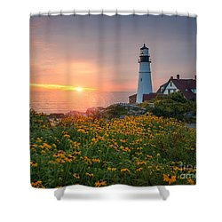 Portland Head Light Sunrise  Shower Curtain