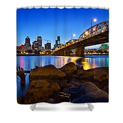 Shower Curtain featuring the photograph Portland Oregon Skyline At Blue Hour by JPLDesigns