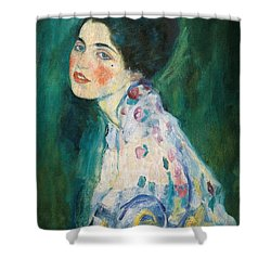 Portrait Of A Young Woman Shower Curtain by Gustav Klimt