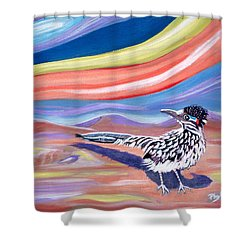 Shower Curtain featuring the painting Posy 2 The Roadrunner by Phyllis Kaltenbach