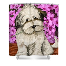 Shower Curtain featuring the painting Puppy In The Flowers by Tim Gilliland