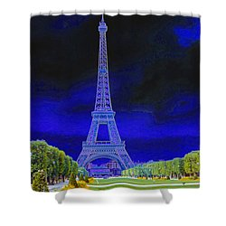 Purple Eiffel Shower Curtain by Chuck Staley