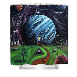 Shower Curtain featuring the painting Quantum Dementia by Ryan Demaree