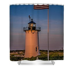 Race Point Lighthouse And Old Glory Shower Curtain by Susan Candelario