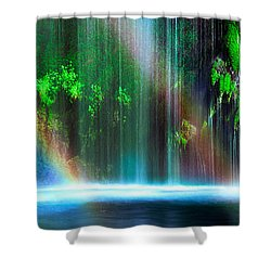 Rainbow Formed In Front Of A Waterfall Shower Curtain by Panoramic Images
