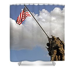 Shower Curtain featuring the photograph Raising The American Flag by Cora Wandel