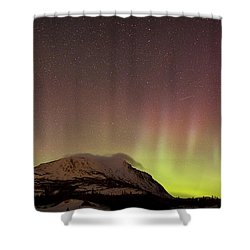 Red Aurora Borealis And Milky Way Shower Curtain by Joseph Bradley
