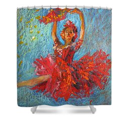 Red Fan Shower Curtain
