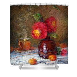 Red Flowers Shower Curtain by Nancy Stutes