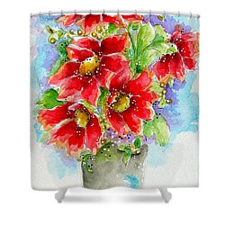 Shower Curtain featuring the painting Red Flowers by Patrice Torrillo