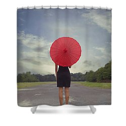 Red Parasol Shower Curtain by Joana Kruse