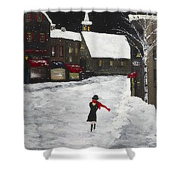 Red Scarf Winter Scene Shower Curtain