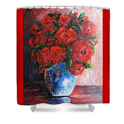Shower Curtain featuring the painting Red Scent by Vesna Martinjak