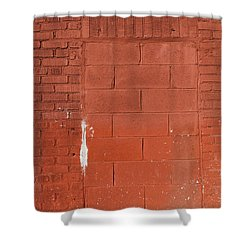 Red Wall With Immured Door Shower Curtain