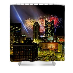 21l334 Red White And Boom Fireworks Display Photo Shower Curtain