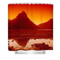 Reflection Of Mountains In A Lake Shower Curtain by Panoramic Images