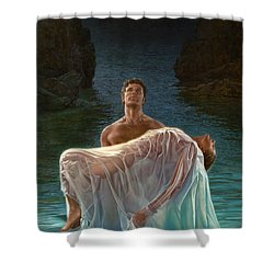 Shower Curtain featuring the painting Resurrection by Mia Tavonatti