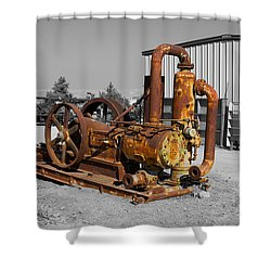 Retired Petroleum Pump Shower Curtain by Richard J Cassato