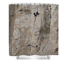 Rock Climber On El Capitan Shower Curtain by Mark Newman